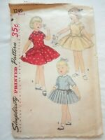 VTG 1950's Simplicity Sewing Pattern #1249 Girls Dress  Size 6