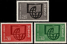 ✔️ FRANCE 1966 - UNESCO BOOK GLOBE - SC.2O6/2O8 MNH OG [FROU.6/8]