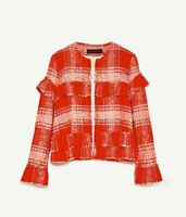 BNWT ~ ZARA ~ BLOGGERS RED/WHITE TWEED CHECK FRAYED BLAZER /JACKET SIZE M UK10