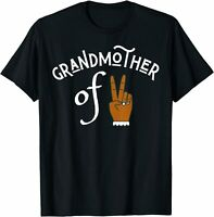 Grandmother Of 2 Melanin Grandma Funny Mother's Day Two Kids T-Shirt