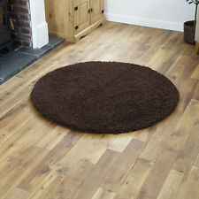 Modern Large Circle Round Chocolate Brown Rug Thick 5cm Pile 133 Cm Shaggy Rugs