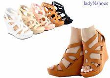 NEW Women's Summer Cut Out Zipper Strap Wedge Platform Sandal Shoes Size 6 - 10