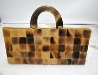 Vintage Tortoiseshell Lucite Tile Handbag Purse