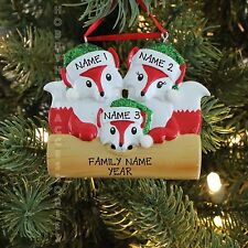 New Fox Family of 3 Personalized Christmas Tree Ornament Holiday Gift