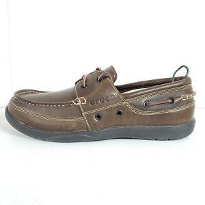 Crocs Harborline Loafer Slip On Brown Leather Boat Shoes Moc Toe Lace Men 11