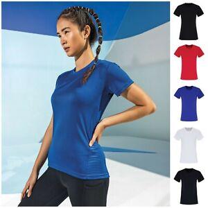Ladies Stripe Panel TShirt Wicking Breathable Training Gym Sport Running Top Tee