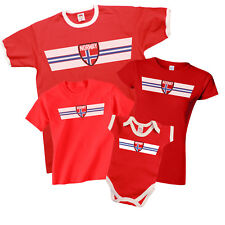NORWAY Patriotic Retro Strip T-Shirt *Choice Of MENS LADIES KIDS BABY GROW*
