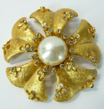 Vintage Estate Brooch Florenza Signed Gold Tone Rhinestone and Faux Pearl Pin
