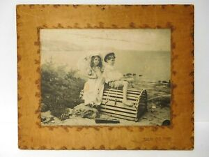 Adorable Antque 1899 Ullman Mfg Boy Girl Picture Clear The Road Photo Burnt Wood