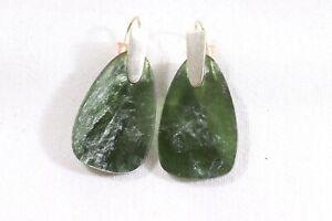 Kendra Scott MARTY Green Glass Dangle Earrings Signed