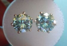 EARRING PAIR SILVER 2.90TCW 1.45 CT VVS1 8.00mm ICY AZURE BLUE  ROUND MOISSANITE