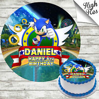 SONIC THE HEDGEHOG EDIBLE ROUND BIRTHDAY CAKE TOPPER DECORATION PERSONALISED