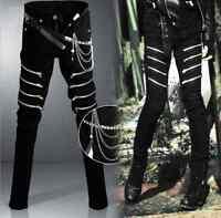 Mens Punk Rave Gothic Zips Pants Trousers Hip Hop Rock Waist Chain Harem Casual