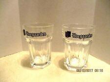 2 Glass Hexagon 6-Sided Round Top Hoegaarden .25cl Beer Glasses  Made in Belgium
