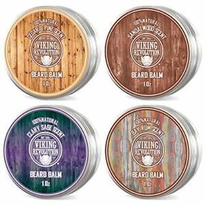 4 Beard Balm Variety Pack (1oz Each)- Sandalwood, 4