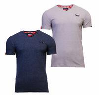 Superdry Mens New Orange Label V Neck Short Sleeve T Shirt Navy Off White Silver