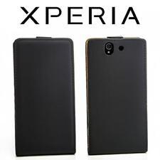 Handy Tasche Schutz Hülle Sony Xperia Z (L36H) Schwarz Flip Style Case Etui Bag