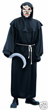 Black Deluxe Horror Hooded Robe Grim Reaper Adult Costume - Standard