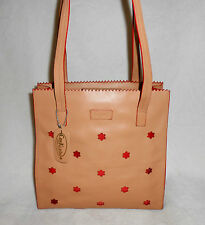 CEEKLEIN TAN GENUINE LEATHER SATCHEL/SHOULDER BAG WITH RED TRIM, FLOWER ACCENTS!