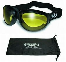 Eliminator Foam Padded Motorcycle Riding ATV Goggles-YELLOW LENSES-Sun Glasses