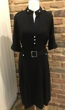 💐100% AUTH KAREN MILLEN MILITARY STYLE DETAILED DESIGNER BLACK DRESS 14 Ex Con