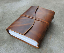 Vintage Genuine Crazy-Horse Leather Journal (Handmade)-Leather Cord Coptic Bound