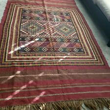"""Hand Woven Knotted Kilim Area Rug 5'1"""" x 9''2"""" Traditional Hand-Made Wool Aztec"""