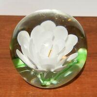 "Glass Paperweight w white flower, orange stamen, green leaves, 3"", Ball shape"