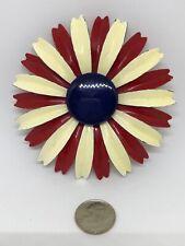 Vintage GIANT Flower Pin BROOCH Red White Blue Patriotic Enamel Metal Spins WOW