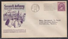 SCOTT 784 SUSAN B. ANOTHONY FIRST DAY COVER FDC FIRST CACHET HAMILTON