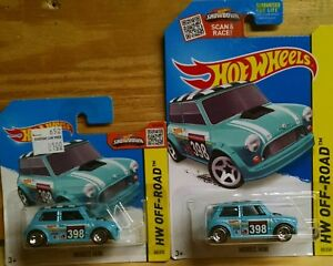2 Hot Wheels  Off-Road Morris Mini Blue 1 reg card and 1 short card