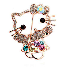 Hello Kitty Accessories Goldplated Crystal Brooch woman Jewelry Pins, Jewl:165