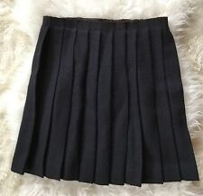 Miu Miu Navy Blue Wool Wrapped Pleated Flare Skirt Size 44 Made in Italy