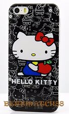 for iphone 5 5s cute hello kitty black white hard back case screen protector/
