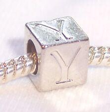 Alphabet Letter Y Cube Square Initial Bead fits Silver European Charm Bracelets