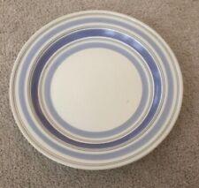 "Pfaltzgraff Rio Round Platter 14"" Blue Cream Striped Stoneware"
