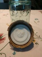 1880 Boyd Perfect Mason Jar With Milk Glass Zinc Cover, With Iron Cross, #5