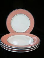 "PAGNOSSIN SPA IRONSTONE TREVISO ITLAY CORAL BORDER 4 DINNER PLATES 9 7/8"" WIDE"