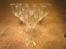 6 Beautiful  Lead Crystal Cut Glass Wine Glasses