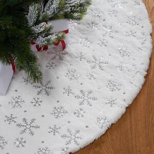 Christmas Tree Skirt Plush Floor Home Xmas Snowflake Cover Ornament Faux Fur Mat
