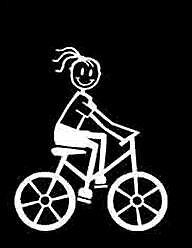 MY STICK FIGURE FAMILY Car Window Stickers G11 Girl on Bike Bicycle