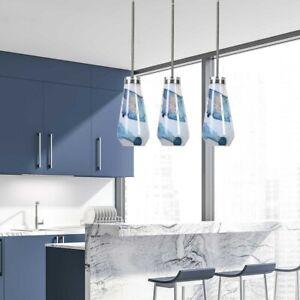 "THREE WINDSWEPT MODERN XXL 18"" HANDMADE BLUE WHITE GLASS PENDANT LIGHT UTTERMOST"