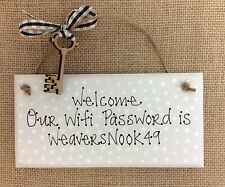 Handpainted Chic Wifi Password Code Number Plaque Sign Personalised