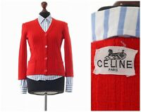Vintage Women's CELINE Paris Knitted Cardigan Sweater Jumper Red Size XS