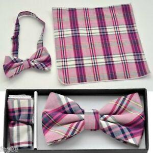 Pre Tied Bow Tie Pocket Purple Pink Gray Red Hankie Handkerchief Plaid Checkers