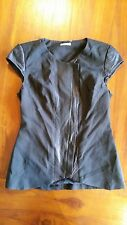Kookai Black with Leather trim zip front top sz38 preowned free post E26