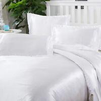 100% Mulberry Silk 4pcs Bedding Set Deep Pockets Pillow Cases & Sheet Set, Queen