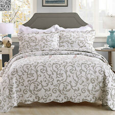 100%Cotton Floral QUEEN/KING Size Quilted Coverlet Bedspread+2 Pillowcases Set