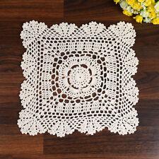 """11"""" Vintage Cotton Hand Crochet Lace Doilies Ivory Square Floral Table Cup Mat"""