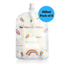 NEW Sinchies 150ml Unicorns Reusable Food Pouches Top Spout BPA Free Pack of 5